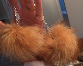 Love and leather tassel key fob