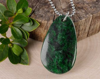 Maw Sit Sit JADE Pendant Steel Necklace with Sterling Silver Bale - Maw Sit Sit Jewelry, Jade Necklace, Jade Jewelry, Jade Cabochon E0520