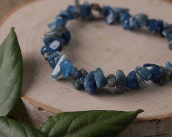 BLUE APATITE Chip Bracelet - Blue Apatite Crystal, Blue Apatite Jewelry, Apatite Stretch Bracelet, Blue Apatite Healing Stone Bracelet E0632