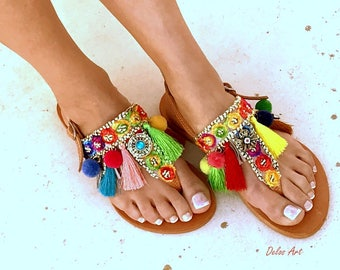 Colorful Sandals, /Carousel/ Pom Pom sandals, Colorful  Sandals, boho Sandals, Leather Sandals, Greek Sandals, Handmade Sandals