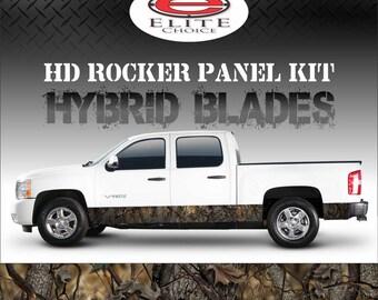"Hybrid Oak Blades Camo Rocker Panel Graphic Decal Wrap Truck SUV - 12"" x 24FT"
