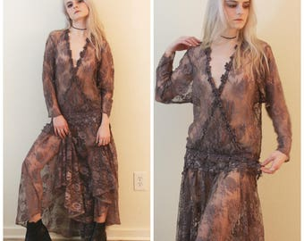 90's Vintage - Bohemian - Sheer Lace Maxi Dress