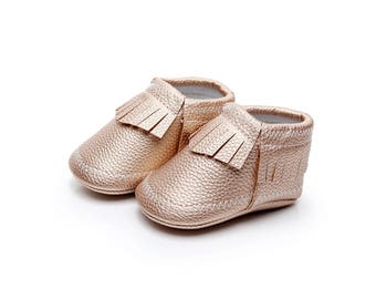 Rose Gold Leather Moccasins