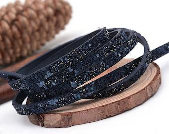 1.4 night metre flat cord 5mm blue glitter / leatherette