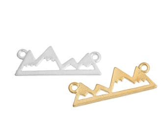 10 connectors in the shape of a mountain in Metal gilded or silvered Metal 24x9mm / winter