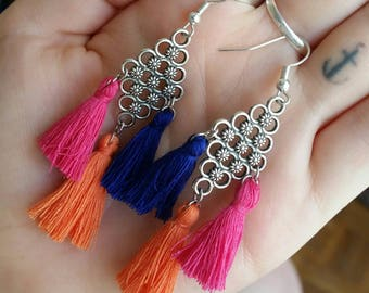 Multicolored tassel earrings
