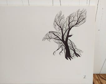 Black and White Ink Drawing Crow Original