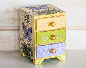 Mini Chest of Drawers, Trinket Box, Jewellery Box, Trinket Drawers, Birthday Gift, Mother's Day Gift, Shabby Chic, Gift for her
