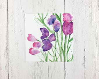 Sweet Pea Greetings Card For Mothering Sunday / Birthday Card / Invitation Card / Thank You Card / Card For Wife / Blank Card