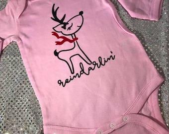 Reindarlin' Baby Girl Christmas Reindeer Holiday Baby Onesie
