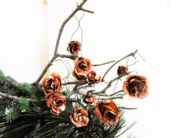 Set 12 Copper Rose ornaments, Book Page flower, Rustic decor, Book page decor, Book lover gift, Spring ornaments, Book page decor, Farmhouse