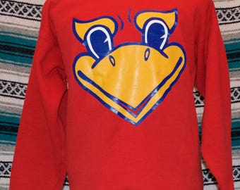 Vintage Kansas Jayhawks Sweatshirt NCAA Red J & M L Large Cotton Polyester Blend
