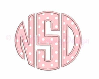 "Circle Monogram Applique Font -  Machine Embroidery Font Design - INSTANT DOWNLOAD 3"" 4"" 5"" sizes pes hus jef vip vp3 xxx dst exp"