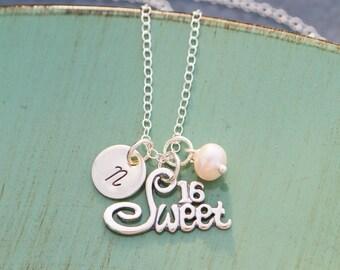 Sweet 16 Gift Birthday Sixteen Sweet Sixteen Necklace • Sterling Silver Girl Birthday Gift • Sixteenth Birthday Present Teen Gift