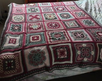 Nuts about squares blanket / throw / afghan - cherry blossom