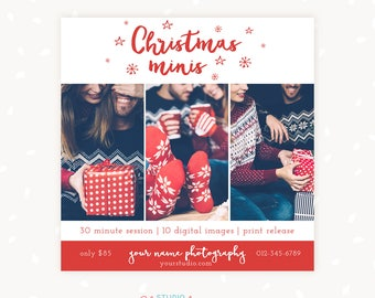 Christmas Mini Session Template, Christmas marketing board, Photography marketing, Photoshop template, Christmas template, Mini sessions