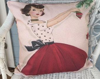 Christmas Vintage Cushion, 50's Retro Pillow, White Christmas Girl Cushion, Festive Decor, Mom Gift