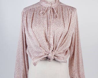 Flower Print Striped Ruffle Stand Collar Long Sleeves Beige Vintage Women Blouse Size M