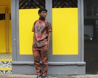 Ankara Suit African Print Suit African T-Shirt Wax Print Trousers African Clothing Mens Two Piece Festival Suit Festival Clothing Colourful