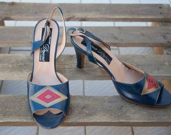 Vintage Shoes-Sandals open toe-ankle strap-Made in Italy-stock remaining 80s-new-not used-not used-heel 8 cm 36 en