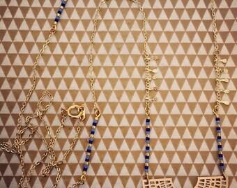 Long miyuki beads and Aztec patterns
