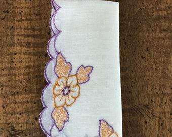 Cotton Handkerchief Purple Scalloped Edge Vintage Hanky Gold and Purple Flowers