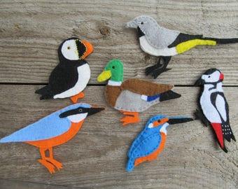 Felt bird fridge magnets, nature lovers gift, puffin ornament, kingfisher ornament, felt animal magnets, British birds, duck ornament