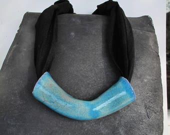 Jersey Necklace with Raku Pendant