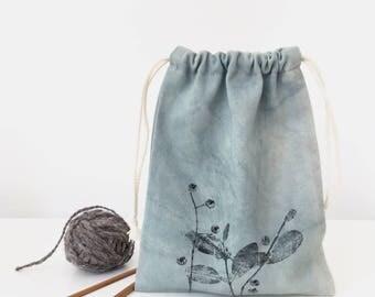 Drawstring crochet bag, Project bag for crochet, Crochet pouch, Baby shower gift, Knitter's Gift Tote Bag, Yarn bag, Medium knitting bag