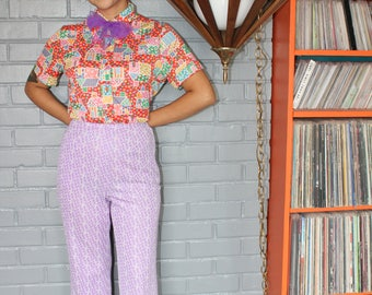 Vintage 1970's High waisted Flared lavender print pants
