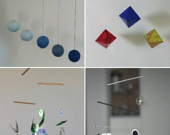 Munari, Gobbi, Octahedron,  Dancer Mobile. Set of 4 Montessori inspired mobiles. Essential Montessori mobiles. Classic Montessori mobiles.