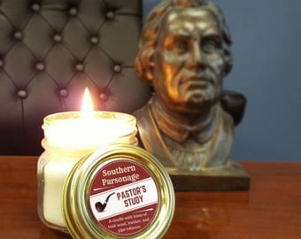 "Handcrafted Mason Jar SOY CANDLE - ""Pastor's Study"" (2 SIZES)"
