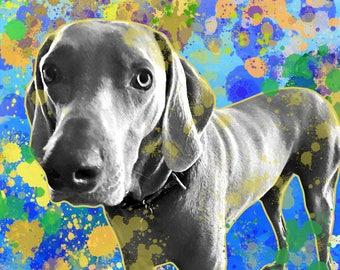Dog portrait custom, Pop art style dog portrait, Quirky pet portrait, Funny dog portrait, Gift for pet lovert, Dog portrait from photo