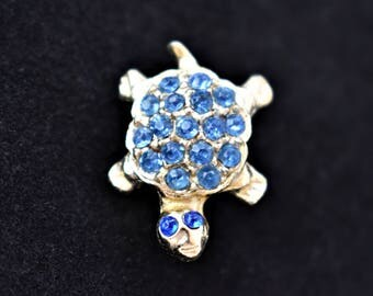 "Vintage Turtle Tortoise Brooch Figural Coat Sweater Scarf Lapel Pin Tie Tack Blue Rhinestone Silver Tone Retro Costume Estate Jewelry 1"""