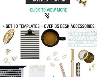 Social media kit templates, Scene Creator Kit for Canva, Top View Mockup Creator,Pinterest Templates, Canva Templates, Blog graphic template