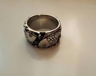 Fish love carp silver ring size US 10