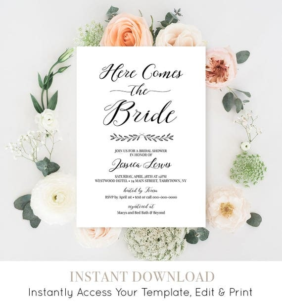 Bridal Shower Invitation Printable, Wedding Shower Invite Template, Here Comes the Bride, Instant Download, Fully Editable #024-121BS