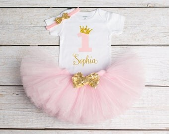 1st Birthday Outfit, First Birthday Outfit, 1st Birthday Onesie, Personalized Onesie, Gold Pink Birthday Tutu, Girls Birthday Princess Tutu