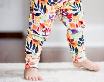 Handmade Baby Leggings - Fall Leaves - Autumn - Fall Leggings - Seasonal - Halloween Pants - Matching Halloween Leggings