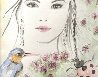 """Watercolour Fashion Illustration """"She And Wildlife"""" with Free Standard Shipping Delivery"""
