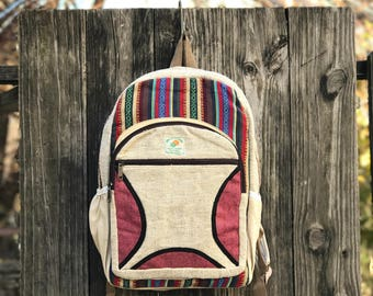 Pink Hemp Handmade backpack