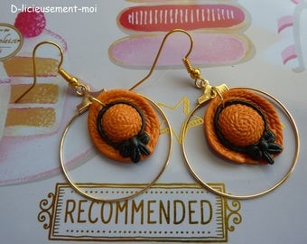 Earrings hoop goldtone Fimo polymer clay straw hat