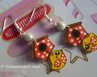 Earrings in 925 sterling silver bird kawaii canary yellow and his crazy plastique miracle bead and hand-painted birdhouse
