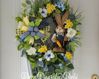 Spring floral grapevine bunny wreath, Easter floral wreath, Spring door decor, Spring door wreath, Floral door wreath