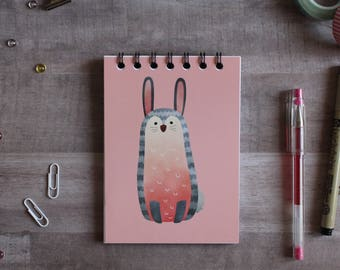 NOTEPAD. A6 Cute Bunny Spiral Notepad. Soft 300 gsm Card Cover. 120 blank pages. Matte lamination pleasant to the touch.