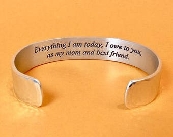Gift for mom ~ Everything I am today, I owe to you, as my mom and best friend. - Mother of the Bride Gift / Mother's Day Gift