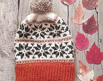 Gilith, Nordic hat, Scandinavian hat, Alpaca hat, Winter Hat, Pom-pom hat, fair isle wool hat, norwegian hat, woodland hat, icelandic hat