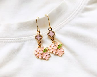 Cherry Blossoms Earrings.Cute Earrings. Pink Flower Earrings. Handmade Earrings. Beaded Earrings