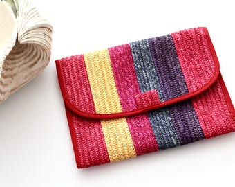 Vintage Colorful Red and Pink and Yellow and Blue and Purple Woven Clutch by 33 East Etra Handbags Made in Italy
