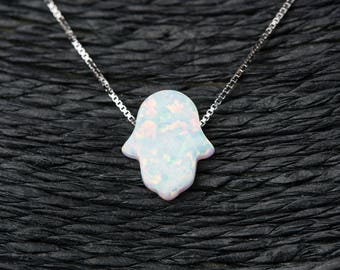 "White Opal Hamsa Hand Necklace with 925 Sterling Silver Chain - 18"" + Free Gift Box"